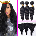 Peruvian Virgin Hair Peruvian Loose Wave 3Bundles With Lace Frontal Closure,13x4 Ear to Ear Frontal With 100% Human Hair Weaving