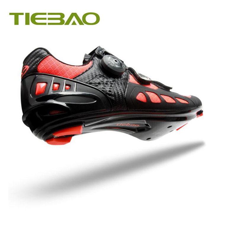 Купить с кэшбэком Tiebao carbon road cycling shoes breathable air mesh self-locking bicycle riding road shoes superstar sapatilha ciclismo sneaker