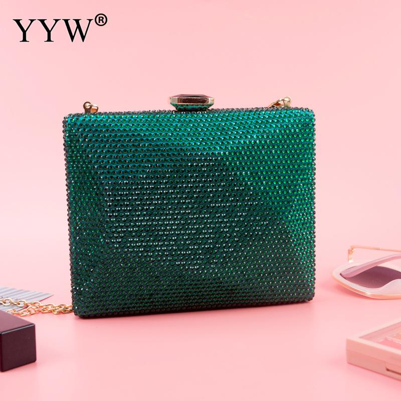 Box Bag With Chain Handbags Female Evening Clutch Purse Green Night Clutch High Quality Party Shoulder Crossbody Bags sac a dos(China)