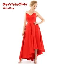 Red Evening Prom Dress Short 2017 Sweetheart Satin Formal Evening Gowns Short Front Long Back Dress custom made