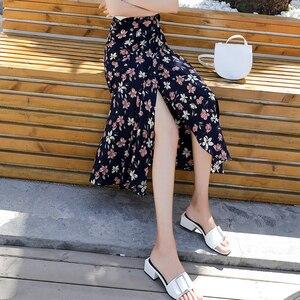 Image 5 - 2019 Summer Floral Print Summer Skirts Bohemian High Waist  Womens Boho Asymmetrical Chiffon Skirt Maxi Long Skirts For Women