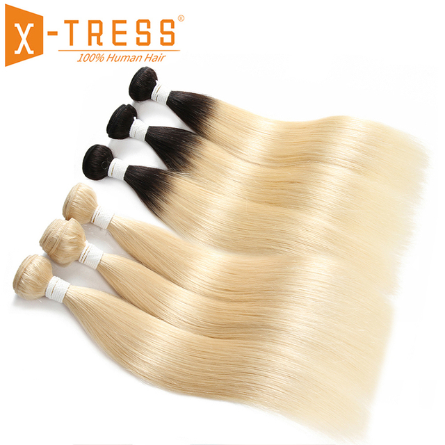 Ombre Black Blonde 613# Color Human Hair Weave 3/4 PCS Bundles X-TRESS Brazilian Straight Non-Remy Hair Weft Extensions 8-26inch