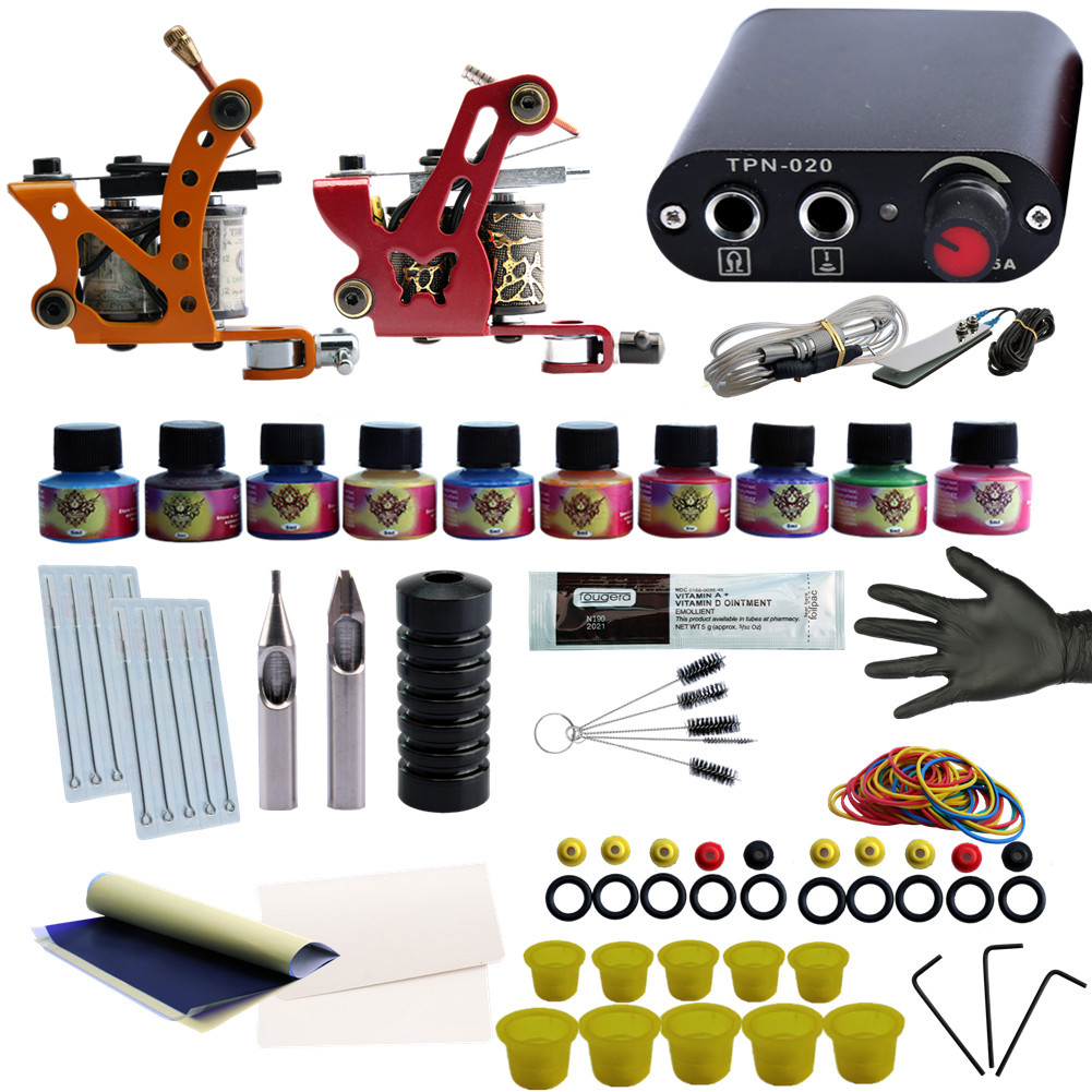 Professional Completed Tattoo Kit 2 Tattoo Machines Set 10 Colors Inks Pigment Induction for Beginner Body Tattoo Art 9656 early simple machines set