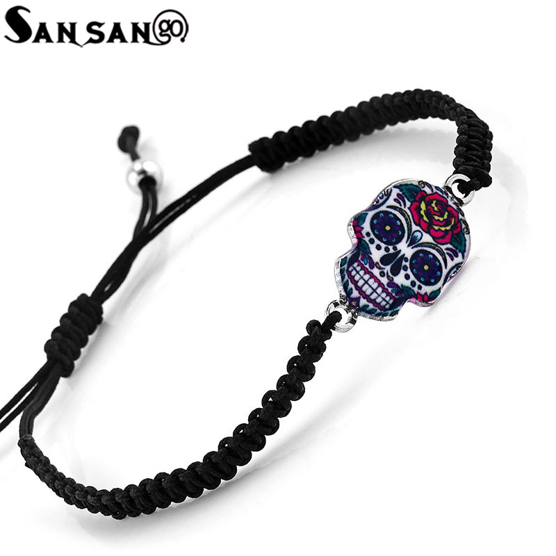 Handmade Trendy Punk Style Colorful Skull Series Woman Men Black Braided Cord Bracelet B ...