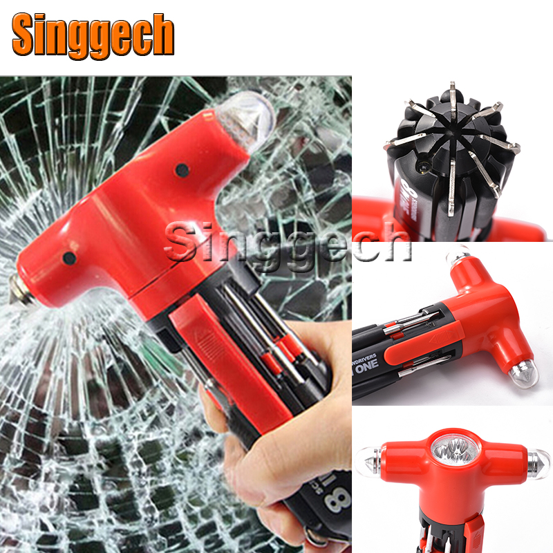 Car Styling 8 in 1 Multifunctional Safty Hammer For Audi A3 A4 B6 B8 B7 B5 A6 C5 C6 Q5 A5 Q7 TT A1 S3 S4 S5 S6 S8 Accessories