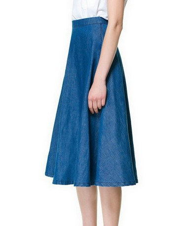 Denim Skirt A Line Knee Length - Dress Ala