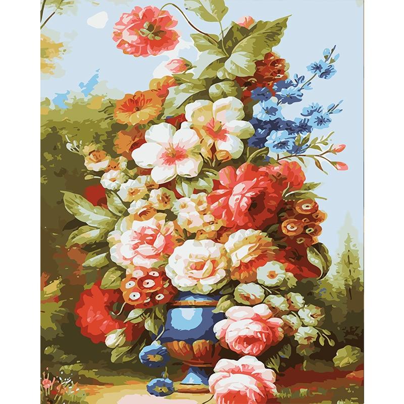 Frameless Canvas Art Oil Painting Flower Painting Design: Colourful Flower Frameless Painting By Numbers DIY Digital