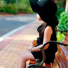 Осенне-зимняя теплая детская винтажная Кепка с широкими полями для мальчиков и девочек, Мягкая шерстяная фетровая Кепка с бантом, Детская шляпа для защиты от солнца, Пляжная Шляпа