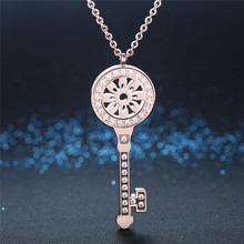 Fashion rose gold filled stainless steel cubic zirconia famous brand tif flower long jewelry necklaces pendants women Jewelery