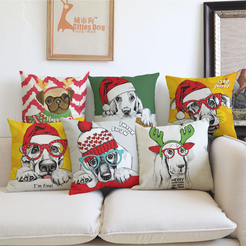 Home Textile Pillow Cushion Cover Christmas Tree Gift Animal Pattern Printing Pillowcase Pet Dog Decorative Pillows Covers Almofadas Cojines Crazy Price