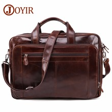 JOYIR Mens Genuine Leather Briefcases 16 Big Real Laptop Tote Bag Cow Business Casual Men Travel