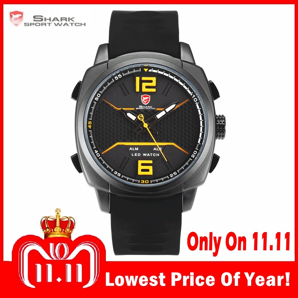2018 New Design Whitetip Reef Shark Sport Watch Men LED Yellow Analog Date Alarm Silicon Band Quartz Digital Wrist Watches/SH489 super speed v0169 fashionable silicone band men s quartz analog wrist watch blue 1 x lr626