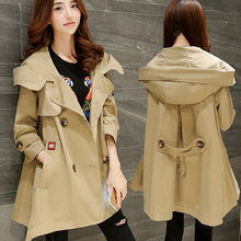 Maternity autumn outerwear casual plus size with a hood spring and autumn clothing trench maternity medium