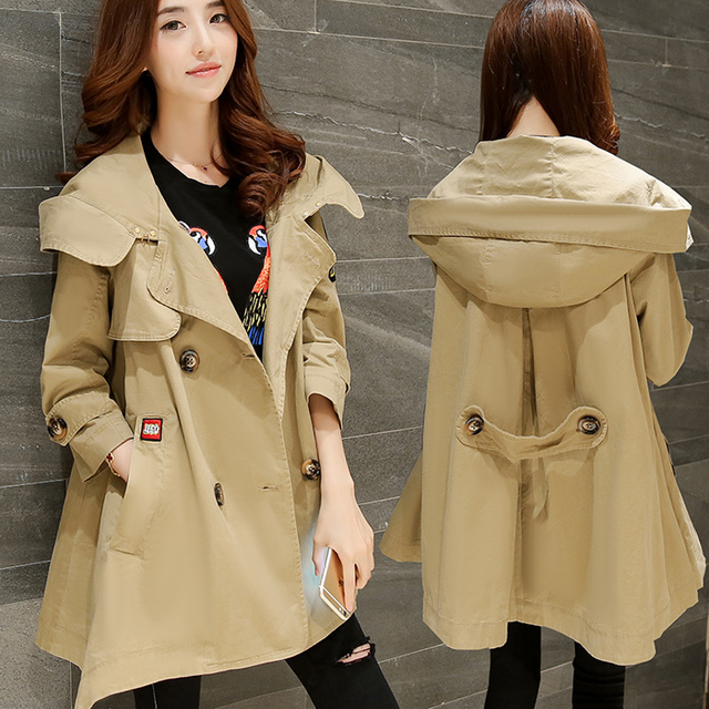 Maternity autumn outerwear casual plus size with a hood spring and autumn clothing trench maternity medium-long loose top