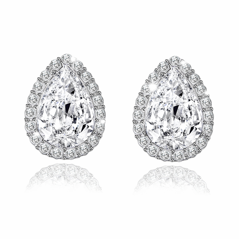 E0251 New Austrian Crystal Earrings Pink Champagne CZ Rhinestone Drop Earrings Women Statement Jewelry Wholesale Accessories