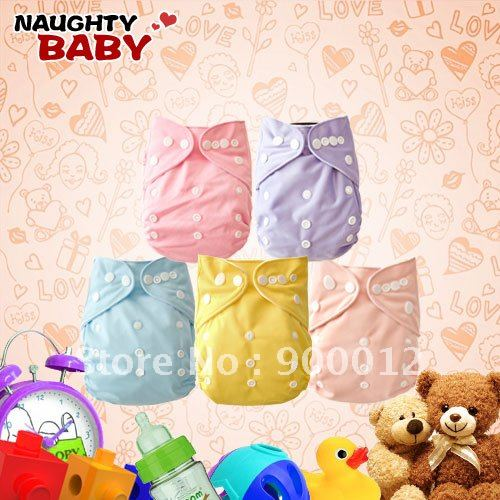 Free Shipping Naughtybaby New Arrive Double Row Snaps Nappy Cloth Diapers Waterproof With Inserts 80 Sets