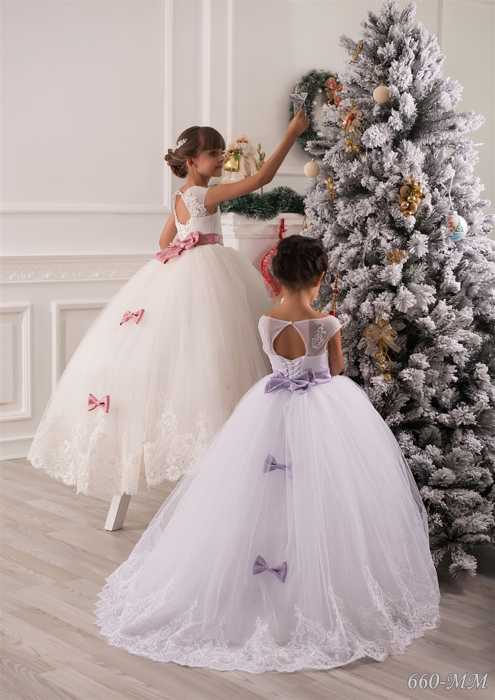 ivory long lace tulle flower girls dresses for wedding