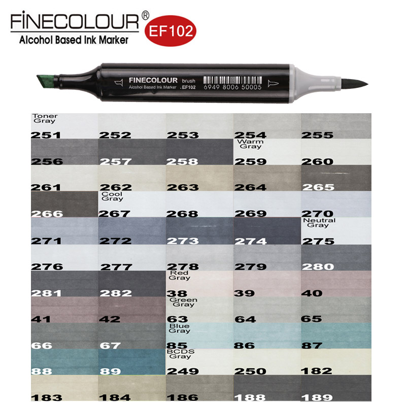 Finecolour EF102 Brush Grayscale Art Marker Flexible Soft Tip Pens 5/8/55pc Dual Cool/Warm/Natural/Tone Gray Markers Draw Render фотошкала colorchecker grayscale [m50103]