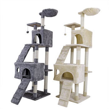 173CM Cat Tree Tower Condo Scratcher Posts Climbing Tree Toys Pet Kitten Frame Cat House Hammock Protecting Home Cat Furniture