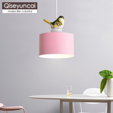 Qiseyuncai Nordic modern restaurant color bird chandelier simple single head creative  corridor bedroom lighting free shipping