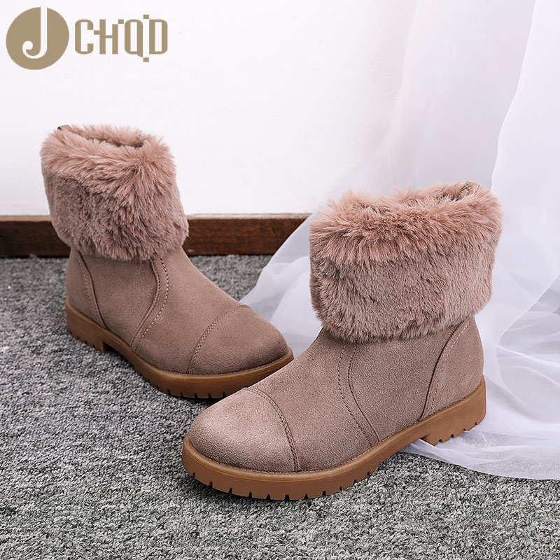 JCHQD 2019 European Style Boots Women High Quality Shoes Women Short plush snowboots with warm interior European sizes 36-42 38