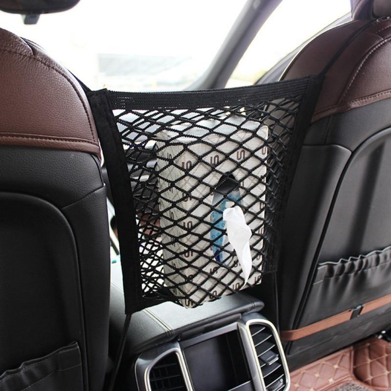 Universal Car Storage Seat Net Organize Bag Drinks Automotive Black Elastic Mesh Inter-seat Storage Sundries Bags