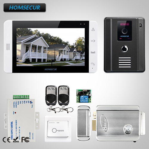 HOMSECUR 7 Wired Video Door Phone Intercom System+Monitor for Apartme:L3:TC011-B Camera( ...