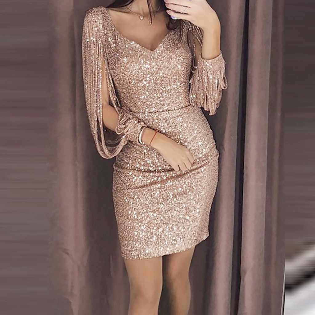summer dress Women Sexy Solid Sequined V Neck dresses Female party night Club Long Sleeved Mini Dress vestidos de verano ropa