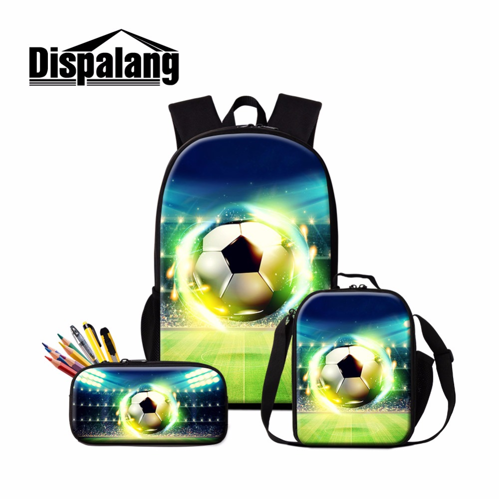 Dispalang Sporty Backpack for Boys Soccers School Bag Footballs Lunch Cooler Pouch Pattern Cool Bookbag for