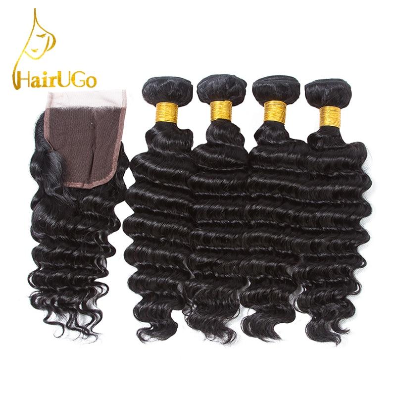 HairUGo Pre-colored Malaysia Haar 100% Echthaar 4 Bundles mit - Menschenhaar (für Schwarz)
