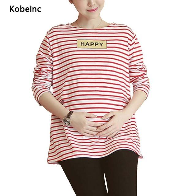 Letras Impresas Tops Lactancia Enfermería embarazada Camisetas de Rayas de Manga Larga Más tamaño Camiseta 2017 Primavera Ropa de Maternidad
