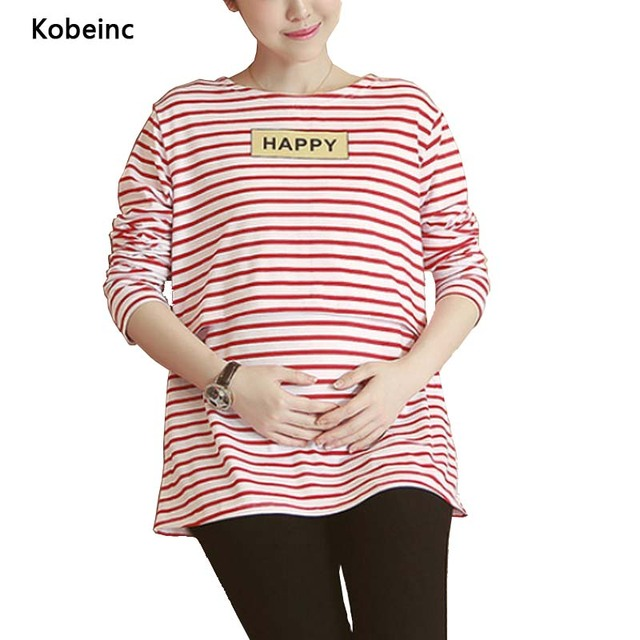 Pregnant Nursing T-Shirts Striped Letters Printed Breastfeeding Tops Long-Sleeved Plus size Tees 2017 Spring Maternity Clothes