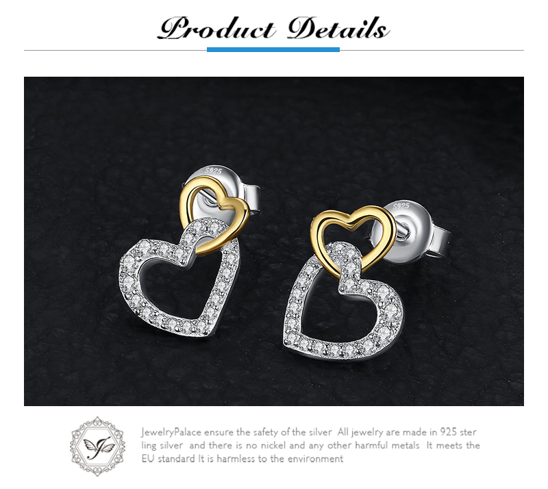 40cd20678 2019 JewelryPalace 925 Sterling Silver Infinity Love Two Hearts Pave ...