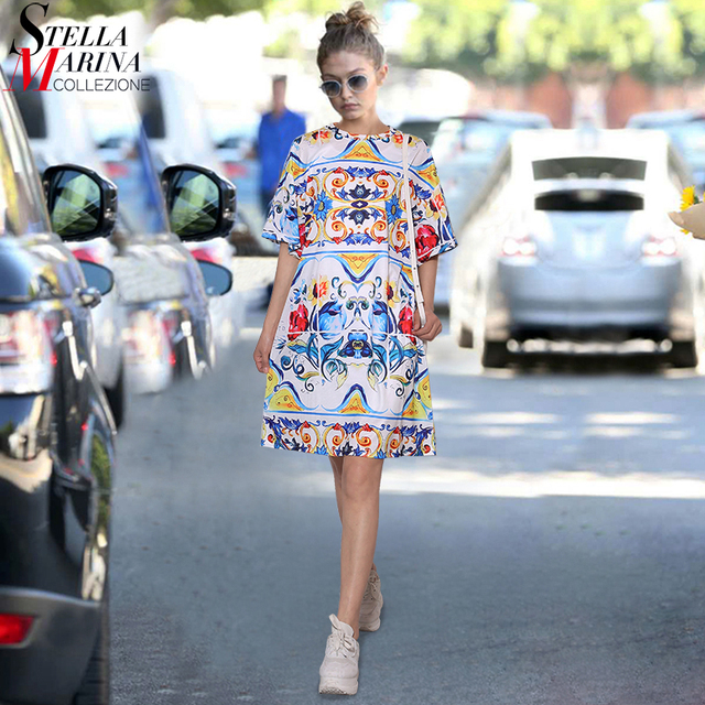 efd94f160cc 2018 Korean Style Women Summer Black White Floral Printed Beach Dress Plus  Size Half Sleeve Girls Cute Midi Loose Sun Dress 2125