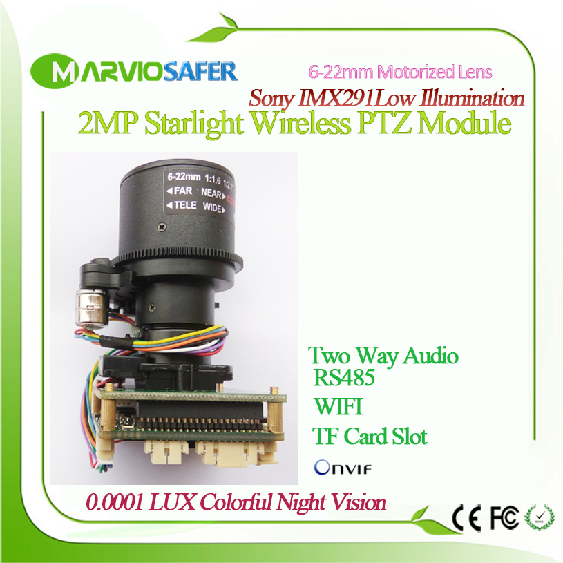 2.1MP 1080P FULL HD Starlight IMX291 CCTV WIFI IP Network Camera Module Board, 6 22mm Motorized Zoom Lens Perfect Night Vision.
