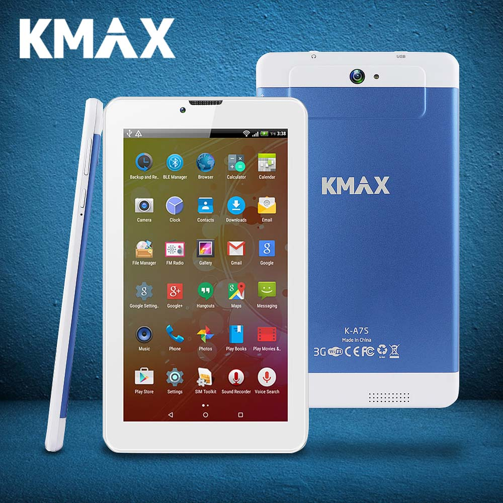 KMAX K-A7S Tablet 7 inch IPS Quad Core MTK CPU Built-in 3G Phone Call Dual SIM Card Tablets Android 5.1  PC GPS BT Dual Cameras hot irulu x6 3g phablet 7 android 7 0 slim tablet phone call quad core 1024x600 ips rom 16gb dual cam wireless fm gps 2800mah