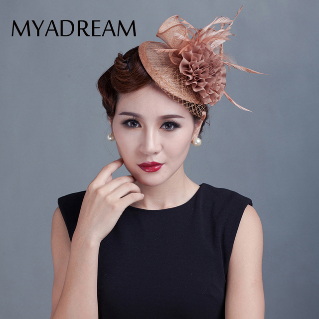 f7546aec8d0 MYADREAM Elegant Ladies Fedora for Wedding Banquet Party Dress Flower Feather  Hats for Women Top Hat Chapeau Toca Hair Clip