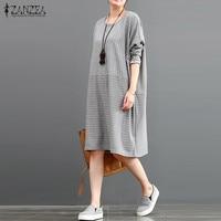S 5XL 2018 Autumn Stylish ZANZEA Women Crew Neck Pockets Loose Long Sleeve Striped Vintage Leisure