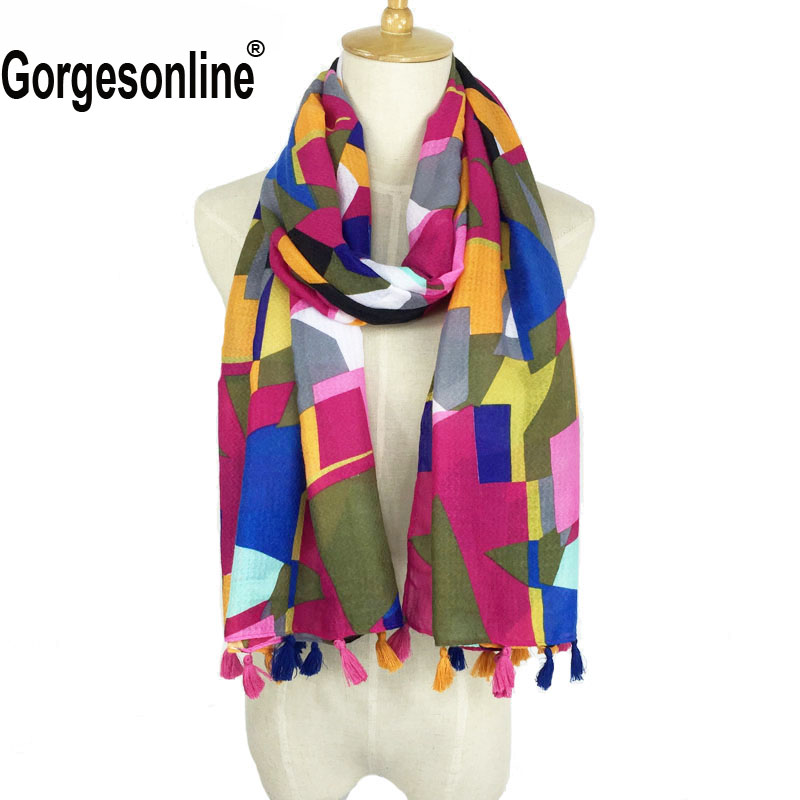 Heißer Verkauf Sehr Ziemlich Druck Design Hijab Schal Hohe Qualität Aztec Tribal Schal Quaste