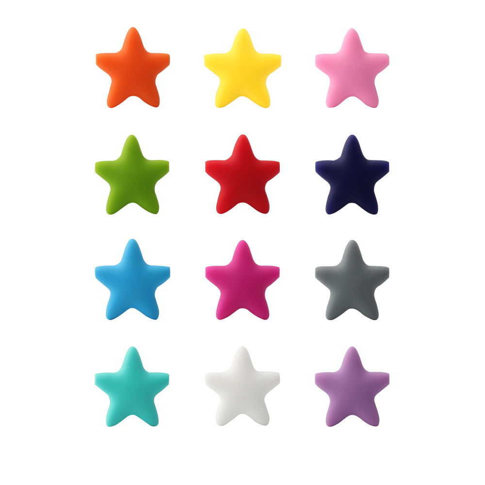 5 pieces Star Silicone Beads Baby Teething Loose Beads teether Food Grade Teether Beads Baby DIY Pacifier Chain