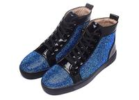 Blue Bling Crystal Mixed Colors Sneakers Men Women Round Toe 2017 New Arrival Fashion Nightclub Men
