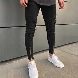 Image 2 - 2020 Nieuwe Mannen Ripped Gaten Jeans Zip Skinny Biker Jeans Zwart Wit Jeans Met Geplooide Patchwork Slim Fit Hip Hop jeans Mannen Broek