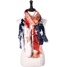 New Designer drop shipping women scarves USA flag west print American flag star striped Long Cotton Viscose Scarf woman Shawl