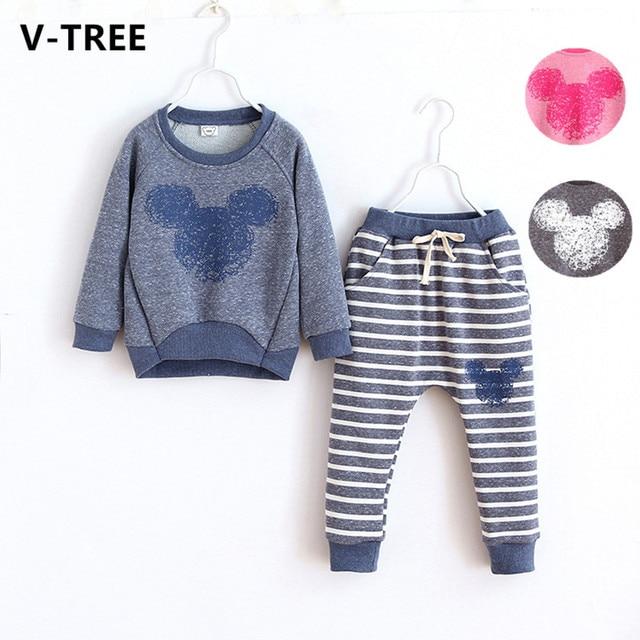 V-TREE мода детские мальчики девочки комплект одежды мультфильм полосой conjunto menina длинным рукавом детей спортивный костюм детская одежда наборы