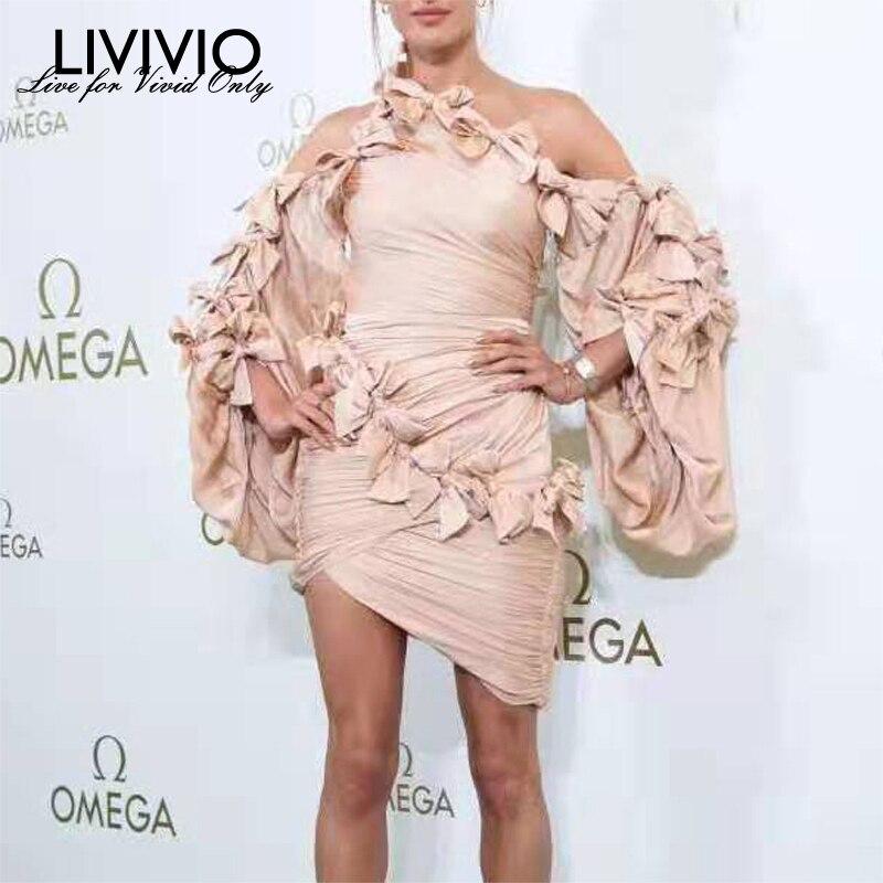 [LIVIVIO] épaule dénudée asymétrique cou arc Patchwork Sexy moulante Mini robe femmes lanterne manches dames 2019 automne nouveauté