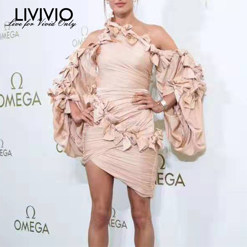 [LIVIVIO] Off Shoulder Asymmetric Neck Bow Patchwork Sexy Bodycon Mini Dress Women Lantern Sleeve Ladies 2019 Autumn New Arrival