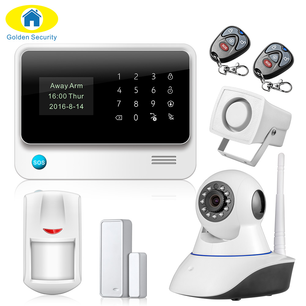 New Product 2.4G WiFi Alarm System Wireless GSM Home Security Alarm System IOS Android APP Control IP Camera Door Close Reminder детская игрушка new wifi ios