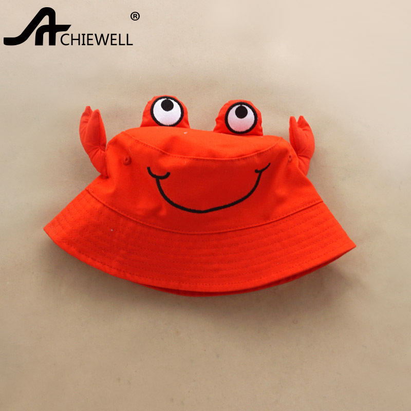 ACHIEWELL Children Animal Pattern  Bucket Hats Cartoon Crab Pattern  Red Summer Sun Hats Children Hats