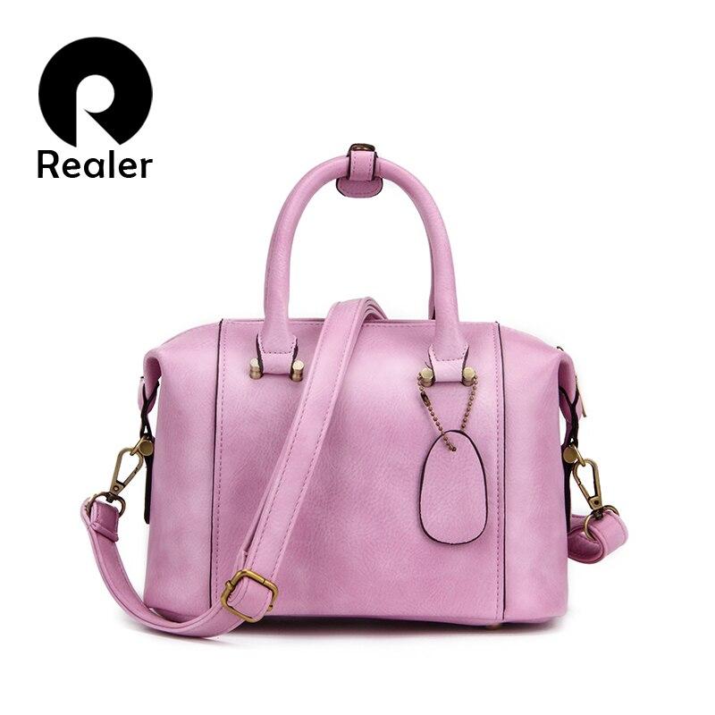 New Realer Brand High Quality Designer Women Boston Bag Imitation Leather Bag Women Crossbody Bag Black Ladies Tote