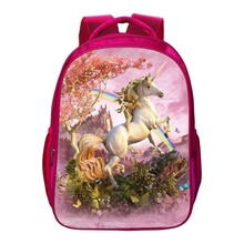 2017 Hot Oxford 16 Inches Printing Animal Beautiful Horse Kids Baby School Bags for Teenagers Girls